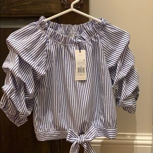 Adorable blue and white stripe girls blouse